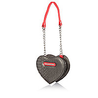 Girls silver heart shaped cross body bag