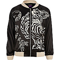 Girls black embroidered bomber jacket