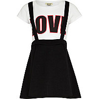 Girls black dungaree skater skirt and t-shirt