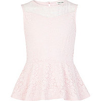 Girls pink lace peplum top