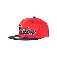 Girls red Boston trucker hat