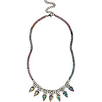 Girls purple diamante spike necklace