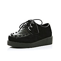 Girls black mock croc stud creepers