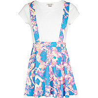 Girls blue dungaree skater skirt and t-shirt