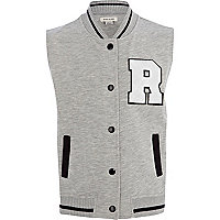 Girls grey sleeveless varsity jacket
