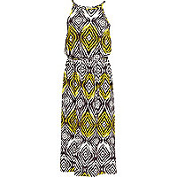 Girls cream aztec print maxi dress
