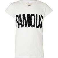 Girls white famous burnout t-shirt