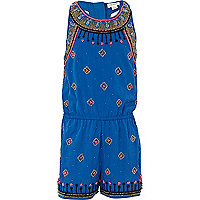 Girls blue embellished playsuit