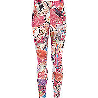 Girls pink Barbie print leggings