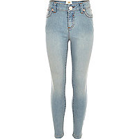 Girls blue light wash skinny jeans