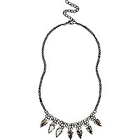 Girls silver tone diamante spike necklace