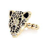 Girls gold tone leopard head stretch ring