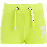 Girls fluro yellow R shorts