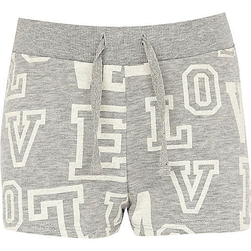 Girls grey Love letter shorts