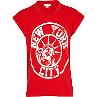 Girls red New York print oversized t-shirt