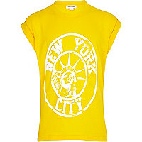Girls yellow New York print oversized t-shirt