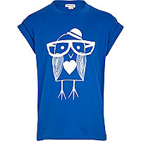 Girls blue bird print oversized t-shirt