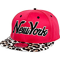 Girls pink leopard New York trucker hat