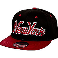Girls black and red New York trucker hat
