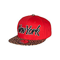 Girls red leopard New York trucker hat