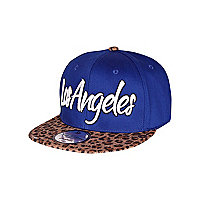 Girls blue leopard Los Angeles trucker hat