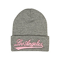 Girls grey Los Angeles beanie hat