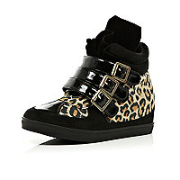 Girls black leopard high top wedges
