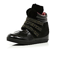 Girls black studded high top wedge trainers