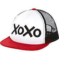 Kids red xoxo trucker hat