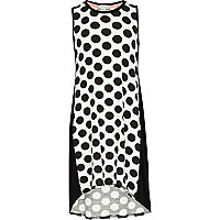 Girls black polka dot vest dress