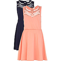 Girls orange and navy 2 pack dresses