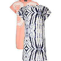 Girls cream and coral 2 pack dresses
