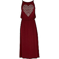 Girls dark red embellished heart maxi dress