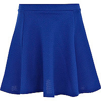 Girls blue textured skater skirt
