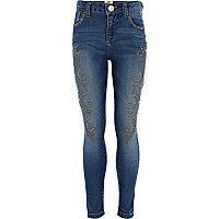 Girls blue mid wash embellished jeans