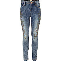Girls blue acid wash embellished jeans