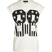 Girls white 88 stars and stripes t-shirt