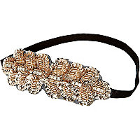 Girls gold tone sequin stretch headband