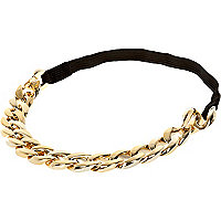 Girls gold tone chain stretch headband