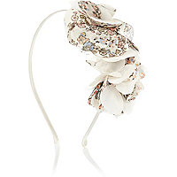 Girls white chiffon flower alice band