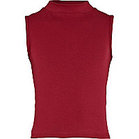 Girls red turtle neck sleeveless crop top