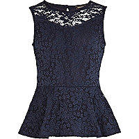 Girls navy lace peplum top