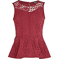 Girls dark red lace peplum top