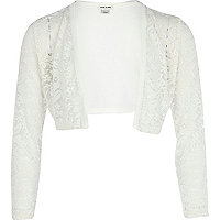 Girls cream lace bolero