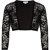 Girls black lace bolero
