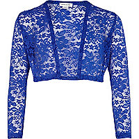 Girls blue lace bolero
