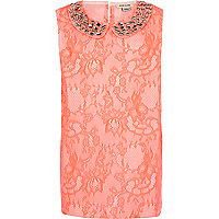 Girls coral embellished collar sleeveless top
