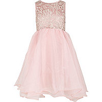Girls pink Little MisDress prom dress