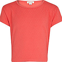 Girls coral textured cap sleeve crop top