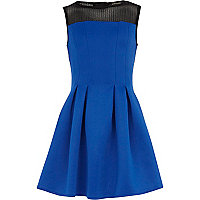 Girls blue scuba sleeveless dress